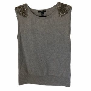 Embellished Grey Sweater Vest small